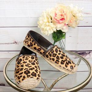 SH68  Tory Burch calf hair leopard espadrilles